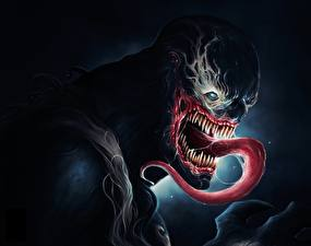 Фотография Герои комиксов Чудовище Язык (анатомия) Зубы Venom Фантастика