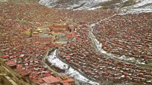 Картинки Здания Китай Sichuan Larung Gar Buddhist Academy Sertar county Города