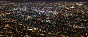 Фотографии Здания Япония Мегаполиса Ночные Сверху Hokkaido Города