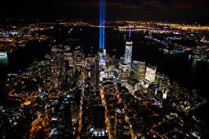 Фотография Дома Штаты В ночи Сверху Мегаполис Нью-Йорк Города