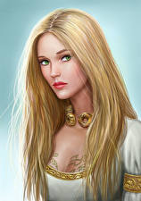 Картинки Иллюстрации к книгам Блондинка Волосы Смотрит Красивые Asterith Dragonclore Фэнтези Девушки