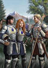 Картинки Иллюстрации к книгам Воители Мужчины Броне Trio In Armour Фантастика