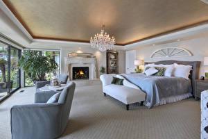 Обои Интерьер Дизайн Спальня Кровать Люстра Кресло Камин