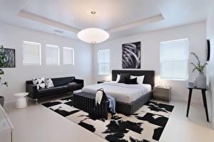Фото Интерьер Дизайн Спальня Кровать Диван Лампа
