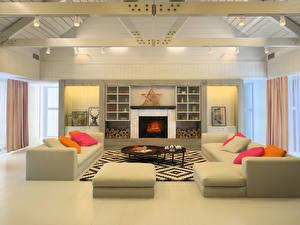 Картинки Интерьер Дизайн Гостиная Диване Камина Потолок 3D Графика