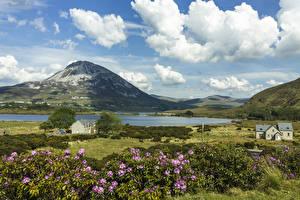 Фотографии Ирландия Пейзаж Небо Озеро Здания Холмы Облака Donegal