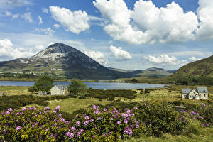 Фотографии Ирландия Пейзаж Небо Озеро Здания Холмы Облака Donegal Природа