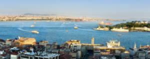 Картинка Стамбул Турция Дома Пирсы Корабль Залива город