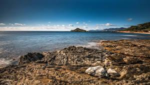 Обои Италия Берег Камень Southern Sardinia