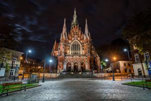 Фото Краков Польша Храмы Церковь Ночные Уличные фонари Улица Saint Joseph Catholic Church Города