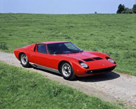 Картинки Lamborghini Винтаж Красные Металлик 1967-68 Miura P400 Bertone авто