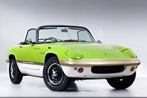 Обои для рабочего стола Lotus Ретро Желто зеленый 1971-73 Elan Sprint Drophead Coupe авто