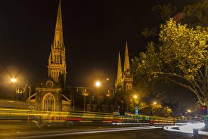 Картинки Мельбурн Австралия Дома Ночные Уличные фонари