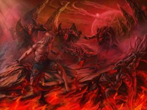 Фотографии Мужчины Демоны Пламя Hell Фэнтези