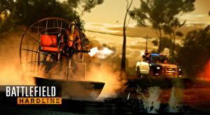 Фото Мужчины Пулеметы Battlefield Hardline Полицейские Стрельба Игры