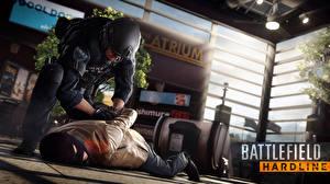 Картинки Мужчины Маски Battlefield Hardline Полицейские 2 Special Weapons Assault Team 3D_Графика