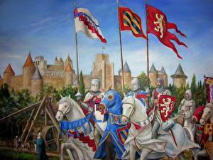 Фотографии Средневековье Рыцарь Лошади Рисованные Доспехи Фантастика