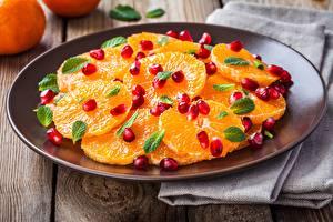 Картинки Апельсин Гранат Зерна Пища