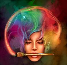 Картинка Кисть Лицо Разноцветные Волосы Фантастика
