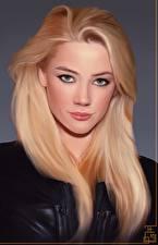 Обои для рабочего стола Рисованные Amber Heard Блондинки Взгляд Знаменитости Девушки