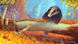 Обои Рисованные Ствол дерева Badger Животные