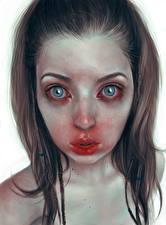 Картинки Рисованные Шатенка Смотрит Белый фон Лицо Ужасные Девушки