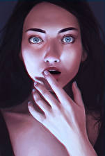 Картинка Рисованные Брюнетка Испуг Эмоции изумление