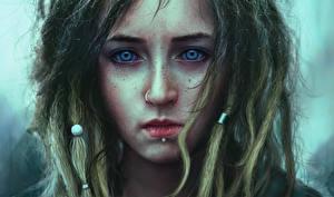Фото Рисованные Лицо Волосы Смотрит Печальная Пирсингом молодая женщина