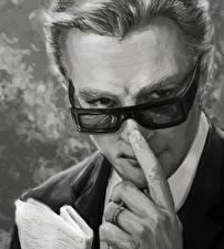 Фотография Рисованные Мужчины Пальцы Черно белое Очки Marcello Mastroiani Знаменитости