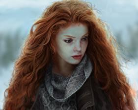 Фотография Рисованные Рыжая Волосы Красивые Девушки
