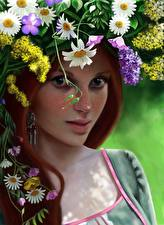 Картинки Рисованные Рыжая Венок Смотрит Красивые Девушки