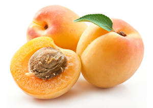 Картинки Персики Крупным планом Белый фон Продукты питания