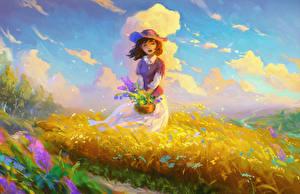 Картинки Живопись Рисованные Девочка Траве Шляпа Дети