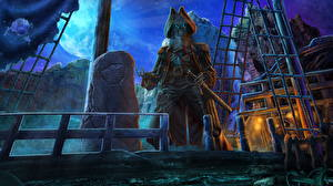 Фотографии Пираты Нежить Скелет Палуба Ночные Фэнтези