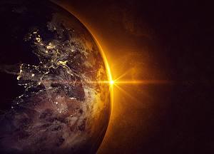 Фотография Планеты Рассветы и закаты Земля Космос