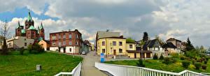 Обои Польша Здания Улица Ограда Газон Czeladz Silesian Города
