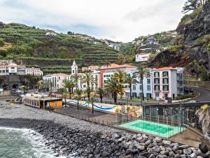 Обои Португалия Дома Берег Камни Улица Madeira Ponta do Sol
