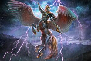 Картинка Дождь Пегас Кентавры Крылья Копья Молния Pegasuscentaur