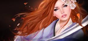 Картинки Рыжая Лицо Волосы Кимоно 3D Графика Девушки