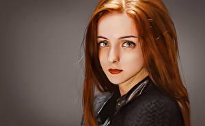 Фото Рыжая Волосы Взгляд Красивые Лицо Фантастика Девушки