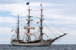 Фотография Парусные Море Корабли Сбоку