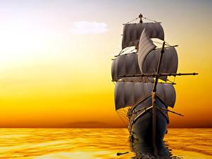 Картинки Парусные Море Рассветы и закаты Корабли 3D Графика