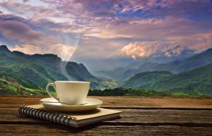 Фотография Пейзаж Кофе Горы Чашка Пар Блокнот Природа