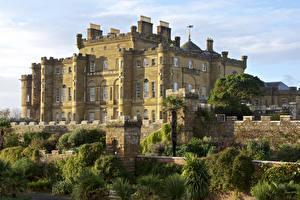 Фотографии Шотландия Замки Забора Кустов Culzean Castle Города