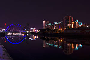 Картинки Шотландия Дома Речка Ночь Glasgow