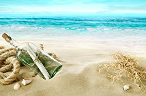 Картинка Море Берег Бутылка Песок Пляж Письмо