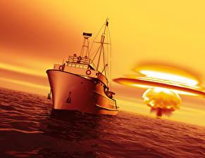Фото Море Рассвет и закат Взрывы Корабли 3D Графика