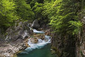 Обои Испания Парки Водопады Скала Ordesa and Monte Perdido National Park Природа