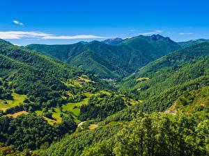 Фотография Испания Пейзаж Горы Леса Cantabria Природа
