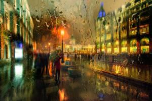 Картинки Санкт-Петербург Дождь Россия Улица Зонт Ночные Города